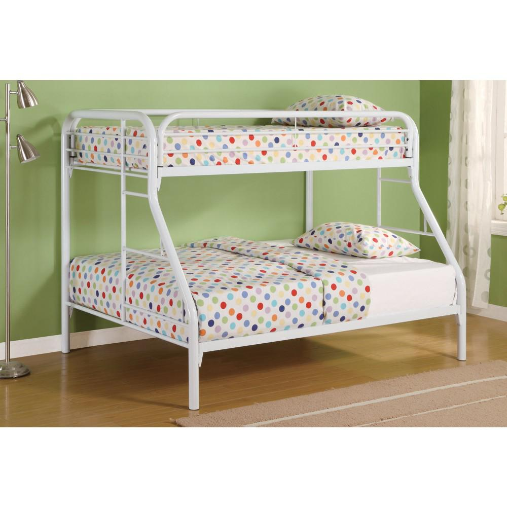 Stylish Kids Bunk Bed Twin Over Full With Side Ladders Metal Frame Color White