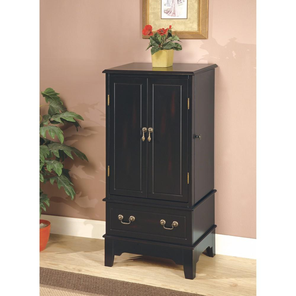 Jewelry Armoire With Felt Lined Doors And Drawers, Black