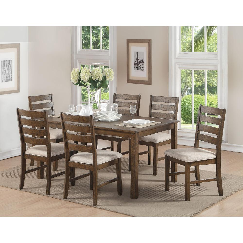 Image Is Loading Wooden 7 Piece Pack Dining Set Weathered Light