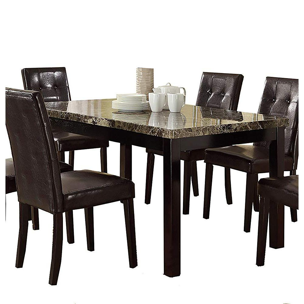 Faux marble pine wood dining table brown