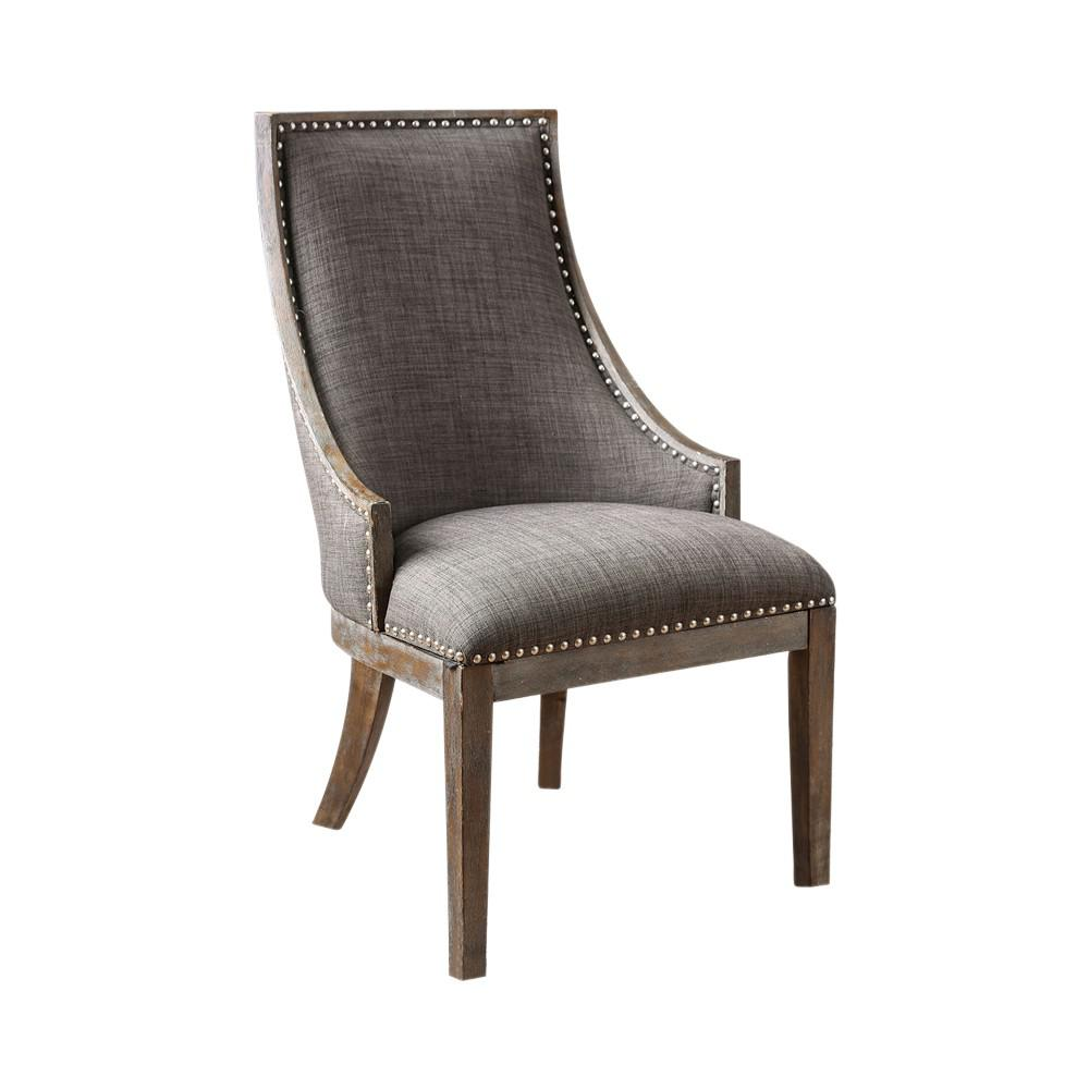 Fabric Upholstered Wooden Accent Chair With Nailhead Trim Gray And
