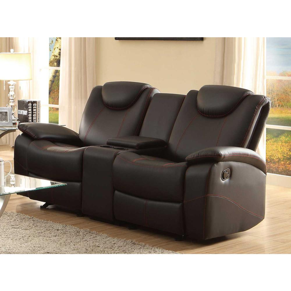 Glider Recliner Loveseat With Adjustable Headrest And Center Console, Black