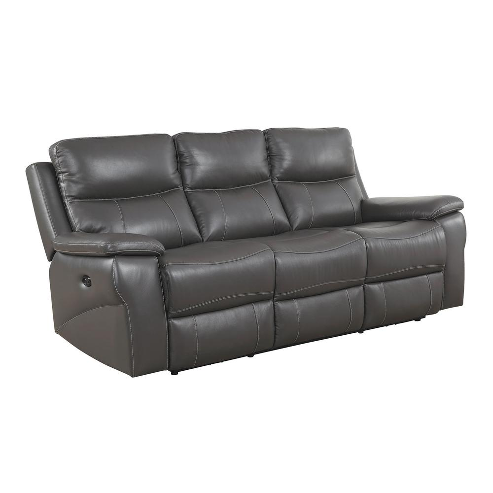 Top Grain Leather Match Sofa With Power Recliners & Power Headrests ...