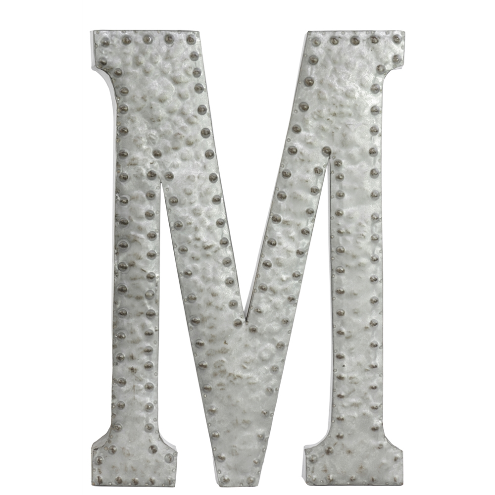 Metal Wall Letters Home Decor: Benzara Metal Wall Decor Letter M With Rivets