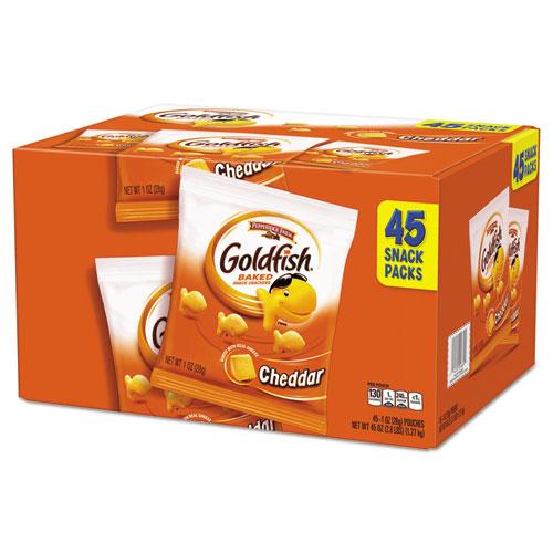 Pepperidge Farm Goldfish Crackers, Cheddar, 1 oz Bag, 45
