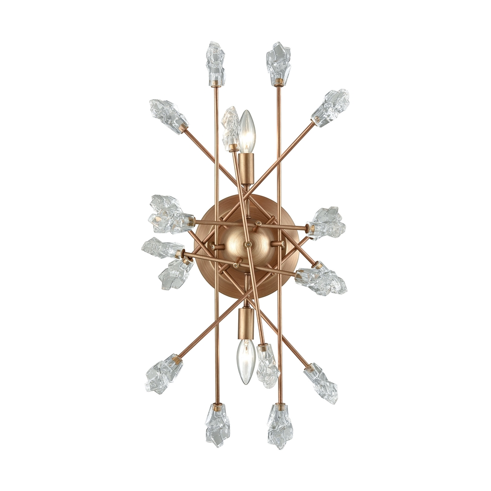 Serendipity 2 Light Sconce In Matte Gold With Clear Bubble