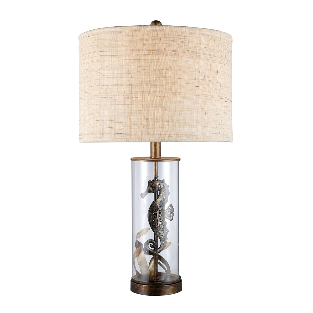 Largo Table Lamp In Bronze And Clear Glass With Natural