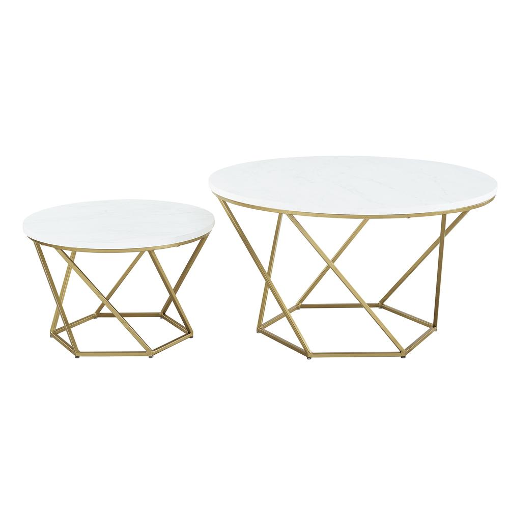 Geometric Glass Nesting Coffee Table Set White Faux