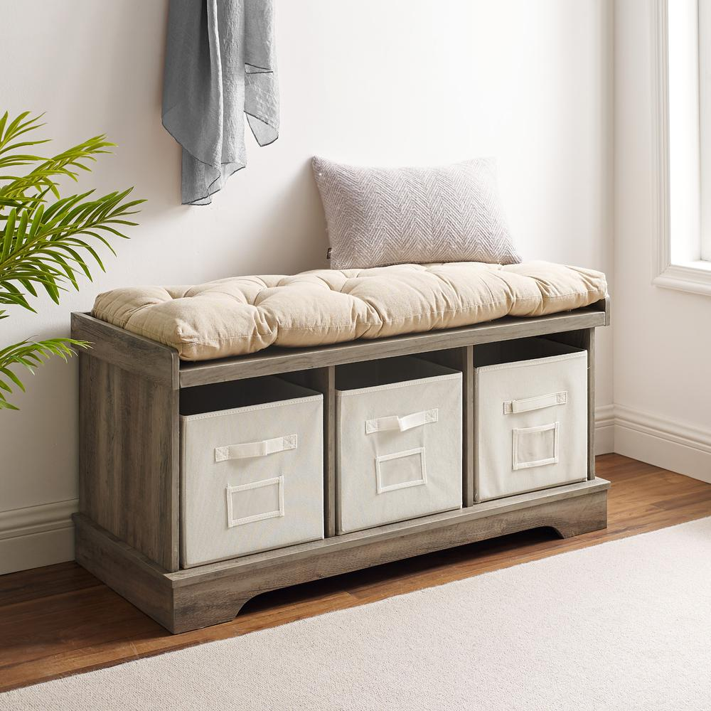 "42"" Wood Storage Bench with Totes and Cushion - Grey Wash"