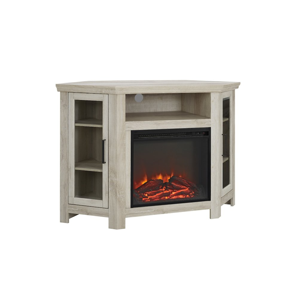 48 wood corner fireplace media tv stand console white oak rh ebay com oak corner electric fireplace entertainment center oak corner fireplace tv stand