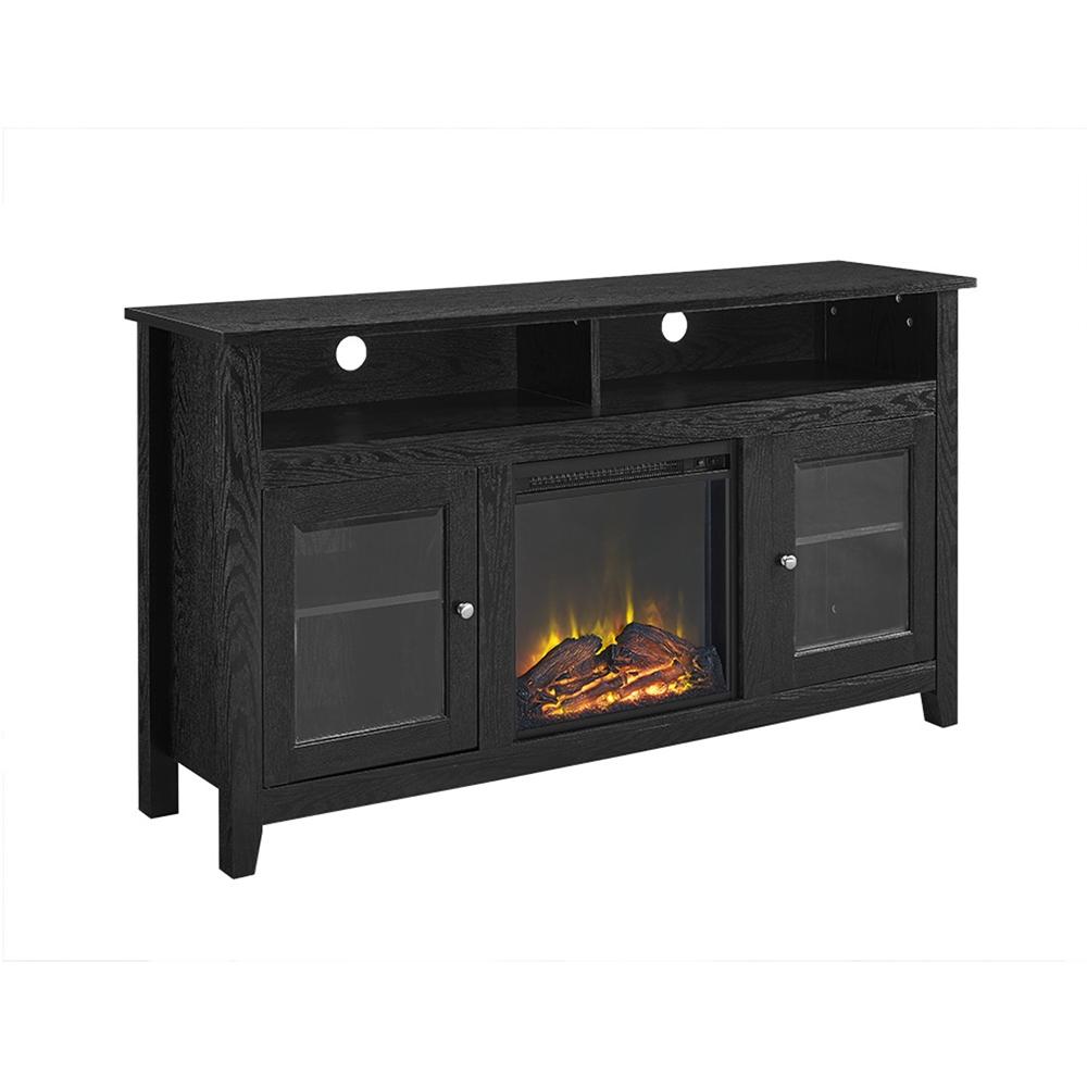 Walker Edison 58 Wood Highboy Fireplace Tv Stand Black Ebay