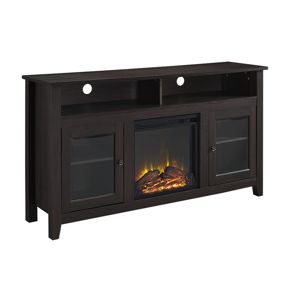 walker edison 58 quot  wood highboy fireplace tv stand