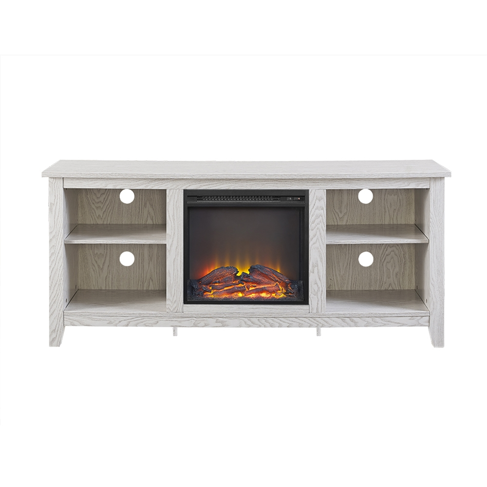 walker edison 58 white wood fireplace tv stand. Black Bedroom Furniture Sets. Home Design Ideas
