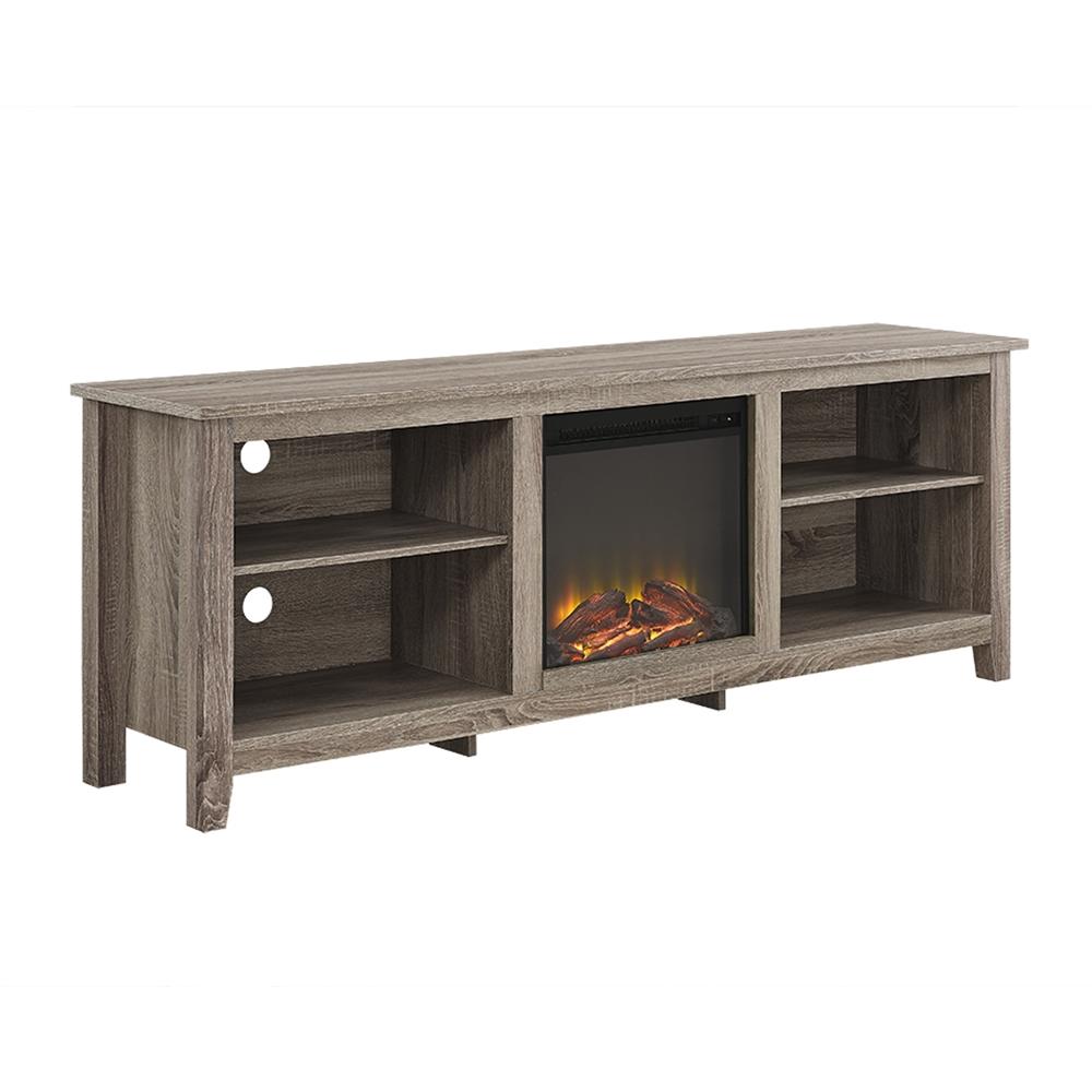 walker edison 70 fireplace tv stand driftwood ebay. Black Bedroom Furniture Sets. Home Design Ideas