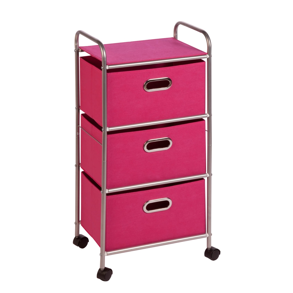 honey can do 3 drawer rolling cart pink chrome pink ebay