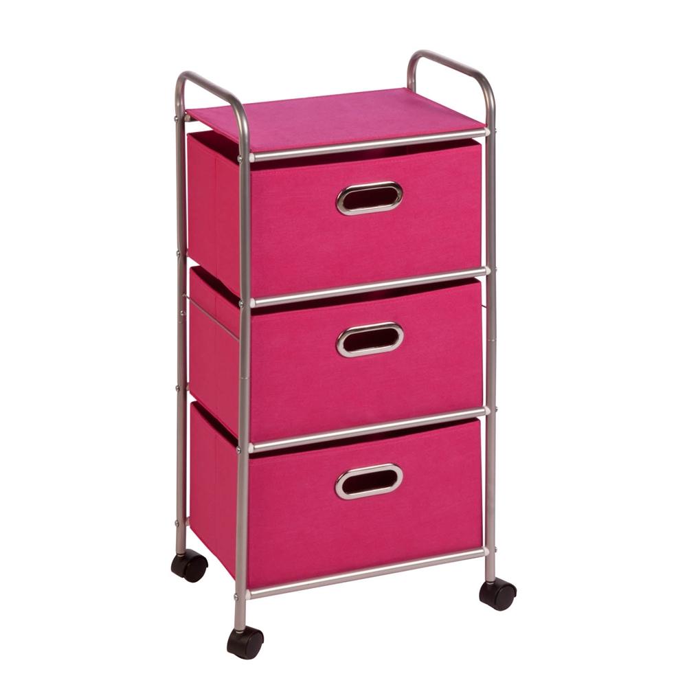 honey can do 3 drawer rolling cart pink chrome pink ebay. Black Bedroom Furniture Sets. Home Design Ideas