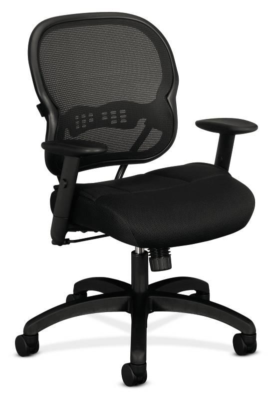 mesh mid back chair synchro tilt adjustable arms black sandwich mesh