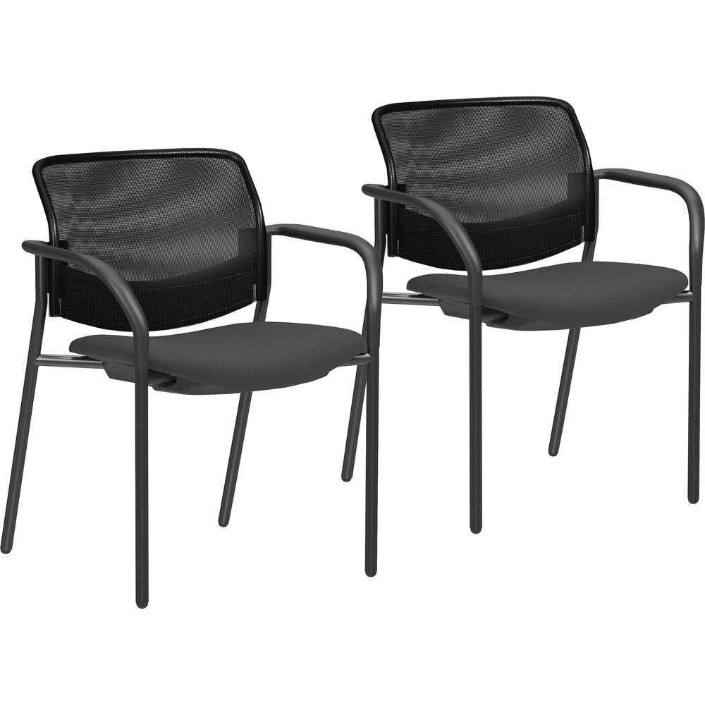 Lorell Guest Chairs With Mesh Back Tubular Steel Frame
