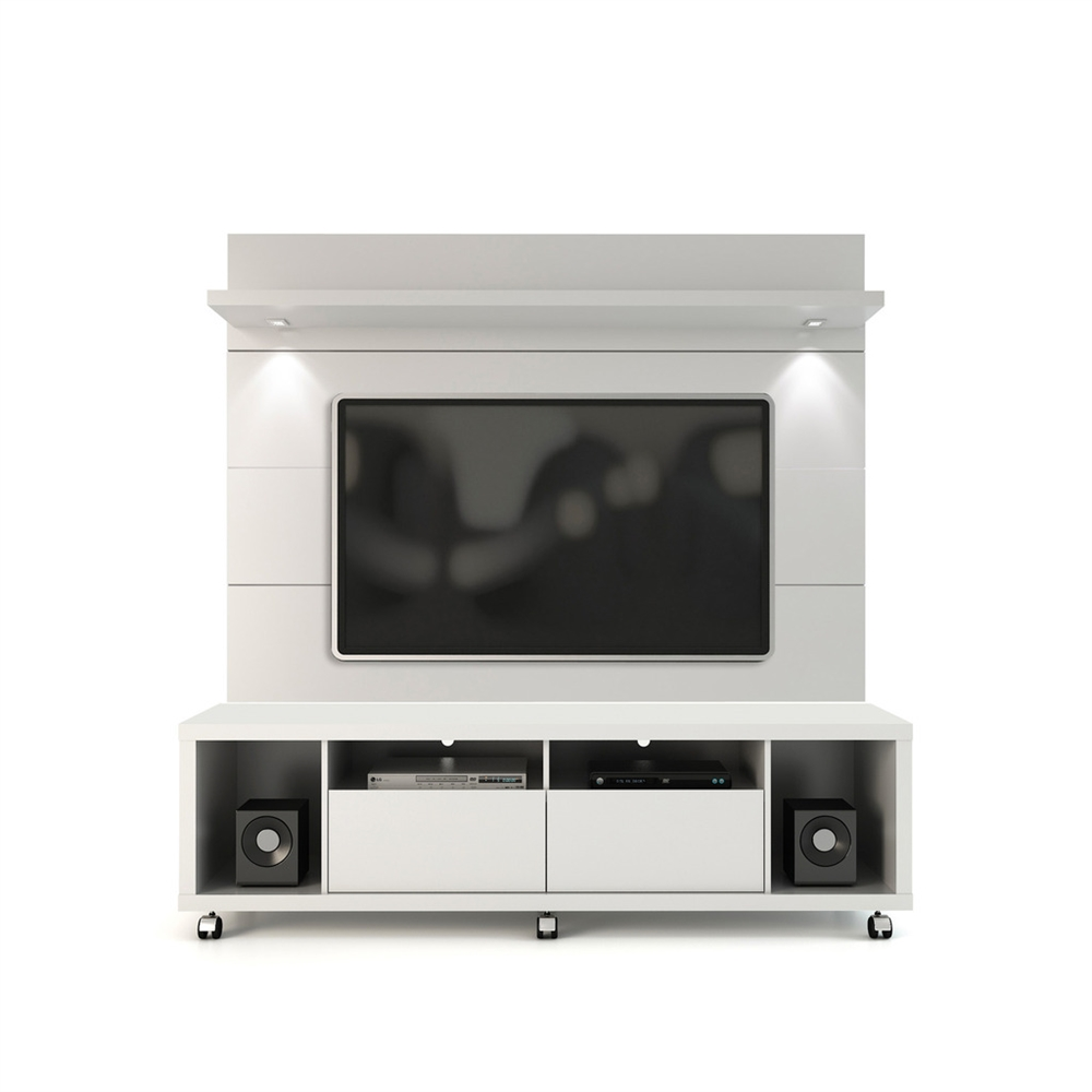 manhattan comfort cabrini tv stand and floating wall tv panel with led ebay. Black Bedroom Furniture Sets. Home Design Ideas
