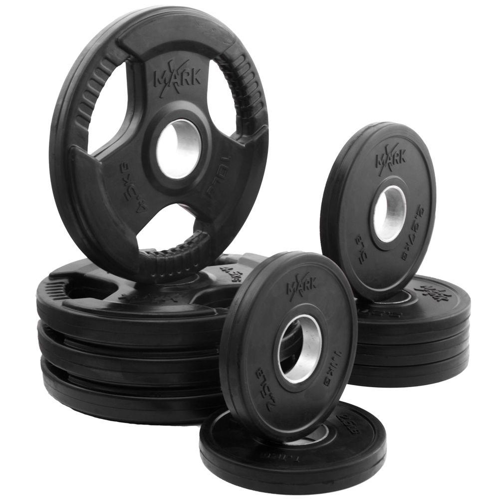 Xmark Rubber Coated Tri Grip Olympic Plate Weight Packages