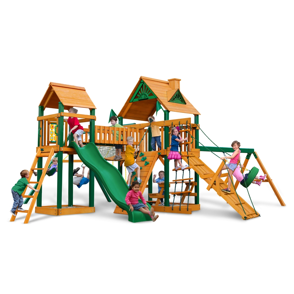 Gorilla playsets pioneer peak swing set w timber shield for Gorilla playsets