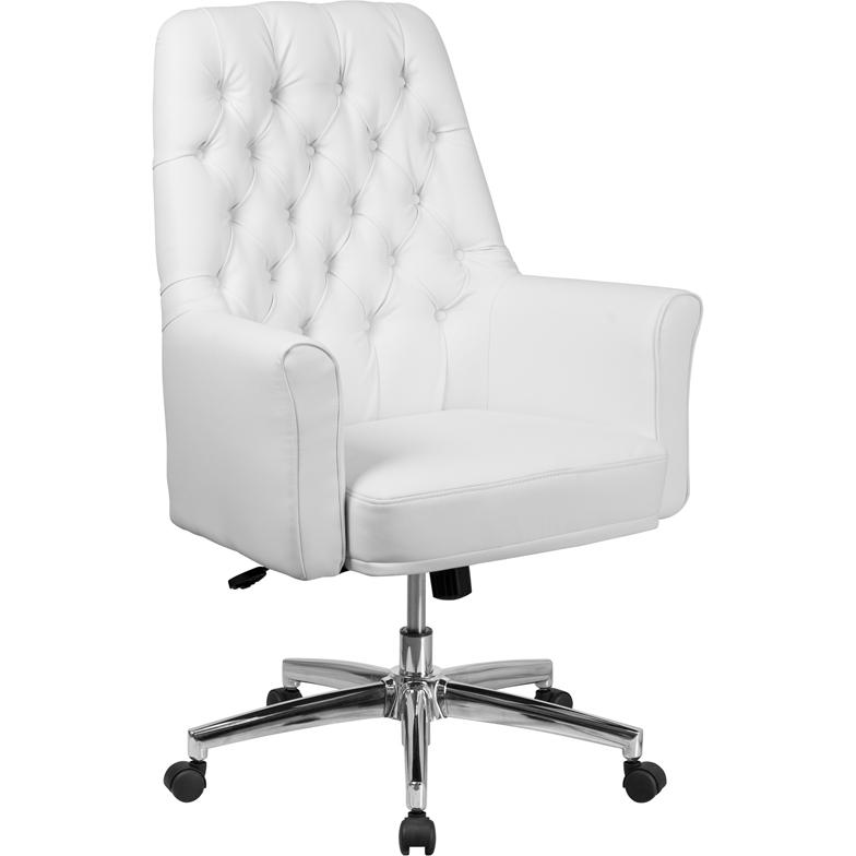 Mid-Back Traditional Tufted White Leather Executive Swivel ...