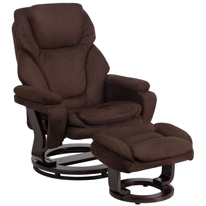 Flash Furniture Contemporary Brown Microfiber Recliner And