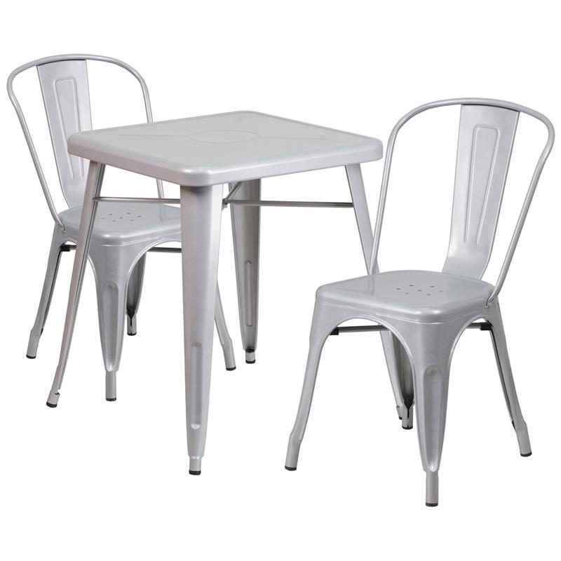 Flash Furniture Silver Metal Indoor-Outdoor Table Set with 2 Stack ...