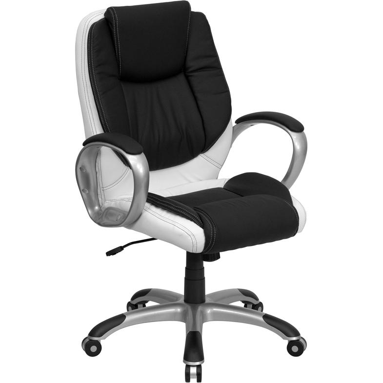 white leather swivel armchair flash furniture mid back black and white leather executive 22013 | ch cx0217m gg