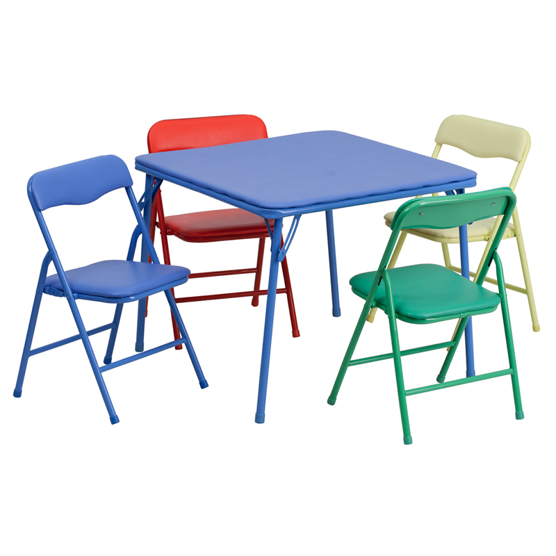Foldable Table And Chair Set.Details About Flash Furniture Kids Colorful 5 Piece Folding Table And Chair Set