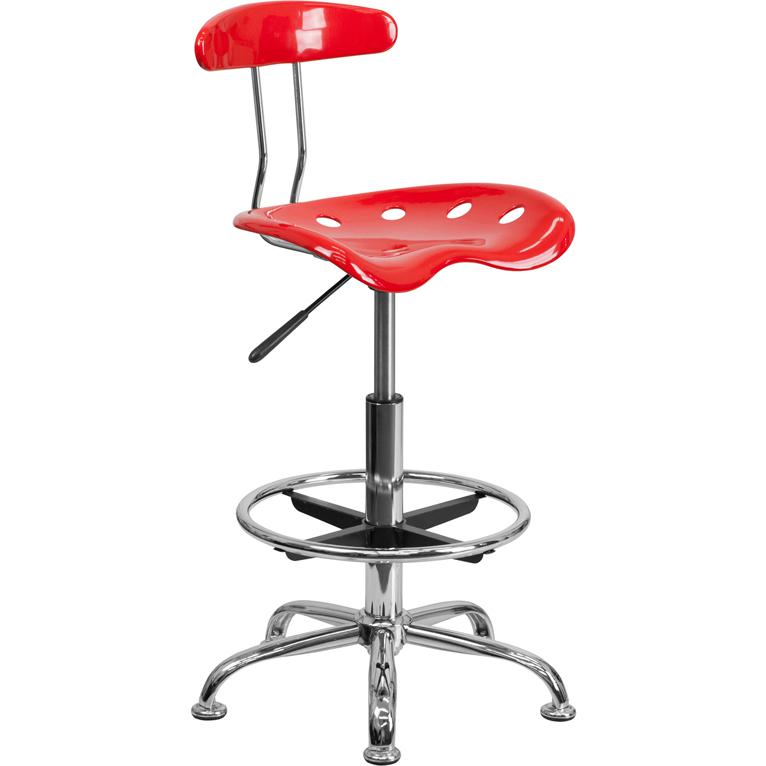 Flash Furniture Vibrant Red and Chrome Drafting Stool with  : lf 215 red gg from www.ebay.com size 440 x 800 jpeg 67kB