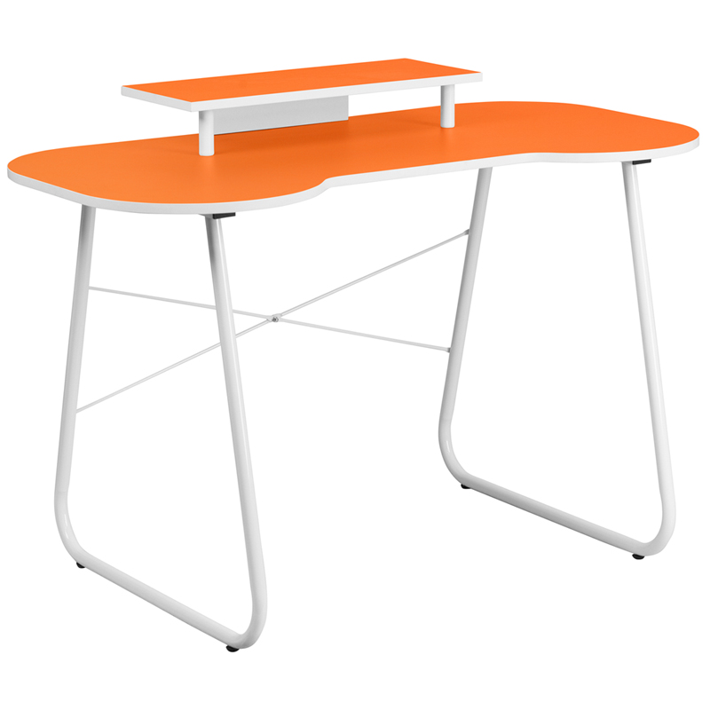 Flash Furniture Orange Computer Desk With Monitor Platform