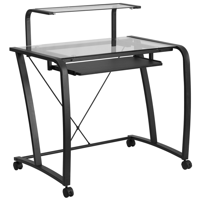 Flash Furniture Mobile Glass Computer Desk With Pull Out