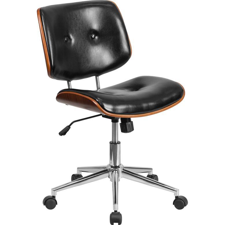 Flash furniture mid back black leather ergonomic wood swivel task chair ebay - Ergo kids task chair ...