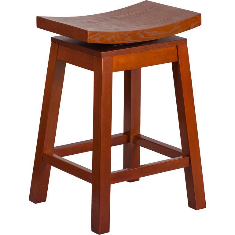 Flash Furniture 26 High Saddle Seat Light Cherry Wood