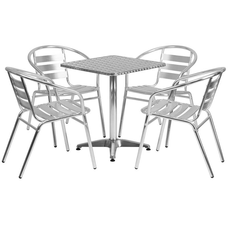 Amazing Details About Flash Furniture 23 5 Square Aluminum Indoor Outdoor Table With 4 Slat Back Uwap Interior Chair Design Uwaporg