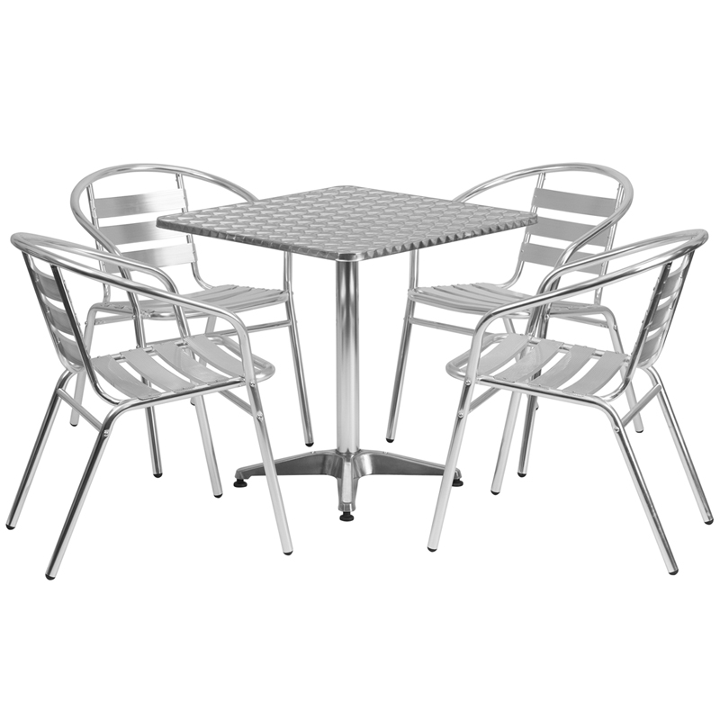 Flash Furniture Square Aluminum IndoorOutdoor Table With - Aluminum outdoor dining table and chairs