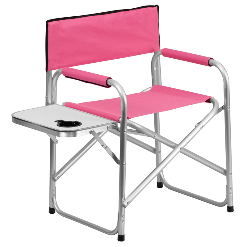 Flash Furniture Aluminum Folding Camping Chair With Table And Drink Holder