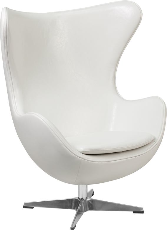 flash furniture white leather egg chair with tilt lock mechanism ebay. Black Bedroom Furniture Sets. Home Design Ideas