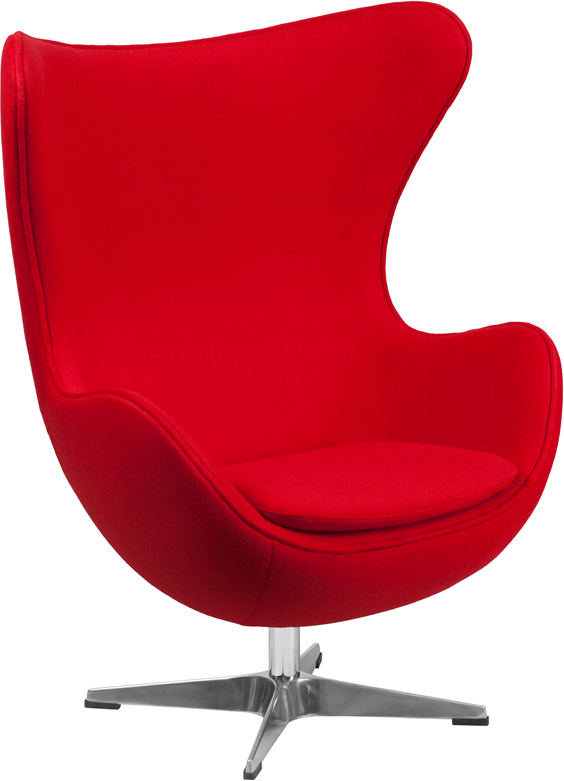 Flash Furniture Red Wool Fabric Egg Chair With Tilt Lock